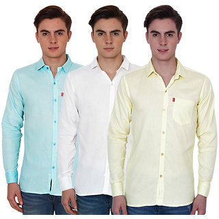 New Democratic Pack Of 3 Plain Casual Slimfit Poly-Cotton Shirts White Sky Yellow