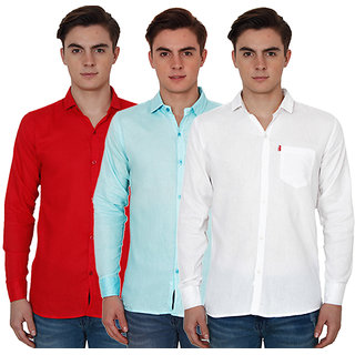 New Democratic Pack Of 3 Plain Casual Slimfit Poly-Cotton Shirts Red Sky White