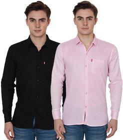 Nandini Democratic Black  Pink Casual Slimfit Shirts