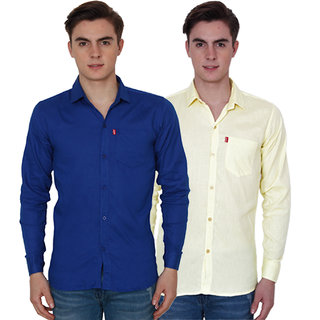 New Democratic Blue  Yellow Casual Slimfit Poly-Cotton Shirts