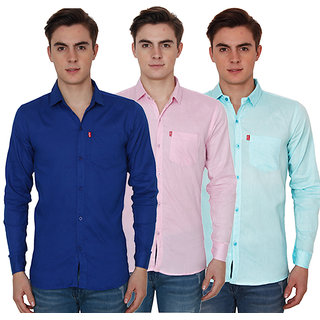 New Democratic Pack Of 3 Plain Casual Slimfit Poly-Cotton Shirts Blue Pink Sky