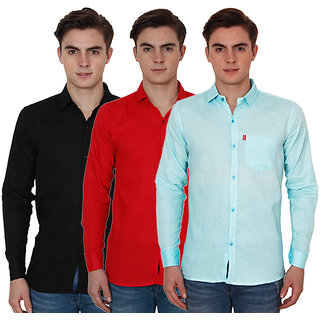 New Democratic Pack Of 3 Plain Casual Slimfit Shirts (Red Black Sky)