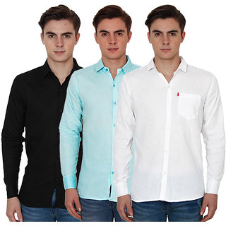 New Democratic Pack Of 3 Plain Casual Slimfit Shirts (White Black Sky)