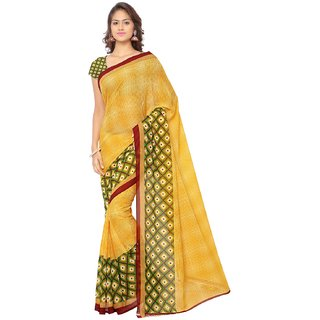 Thankar online trading Green & Yellow Georgette Printed Saree With Blouse