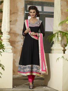 FebSence Ready To Wear Stitched Black Long Anrkali Salwar Suit (SK_19)