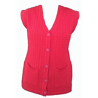 RED Sleeveless Front Open Cardigan With Pockets