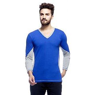 Demokrazy Men's Blue Round Neck T-Shirt