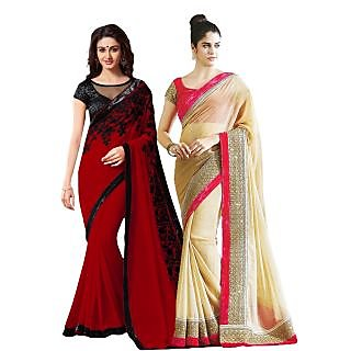 Stylzone Beige  Red Chiffon Embroidered Saree With Blouse