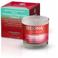 DONA Kissable Massage Candle For Body Relaxation  Skin Enhancing Premium Strawberry Souffle 135gm