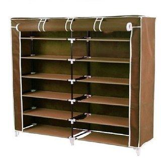 Unique Cartz 6 Layer Double Shoerack - Brown Foldable Collapsible Portable Multi Utility Shoe Rack Organizer Diy