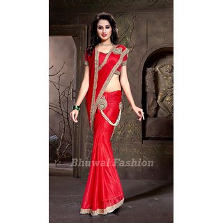 Stylzone Red  Lycra  Self Design Saree With Blouse