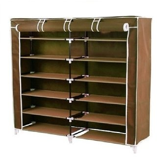 Unique Cartz 6 Layer Double Shoerack - Brown Foldable Collapsible Portable Multi Utility Shoe Rack Organizer Diy