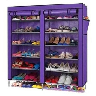 Unique Cartz 6 Layer Double Shoerack - Purple Foldable Collapsible Portable Multi Utility Shoe Rack Organizer Diy