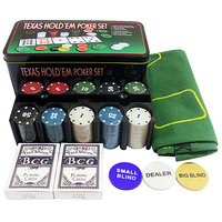 Asfit Poker Set 200 Chips In Denomination Of 10,20,50,100,500 With Tin Case  (Geen)