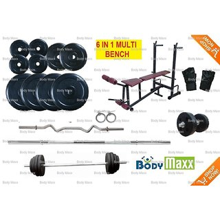 100 Kg Body Maxx Home Gym + 6 in 1 Bench + 5 Ft + 3 Ft + 2 Dumbells Rods +  Glove