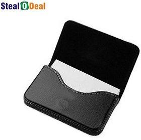 Stealodeal Full Black Leather 15 Card Holder  (Set of 1, Black)