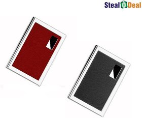 Stealodeal Business Case Handcrafted Black and Red Leather 6 Card Holder  (Set of 2, Red, Black)