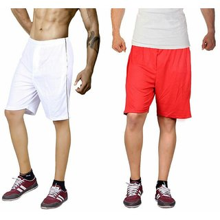 Dinnar fashion red and white gym shorts