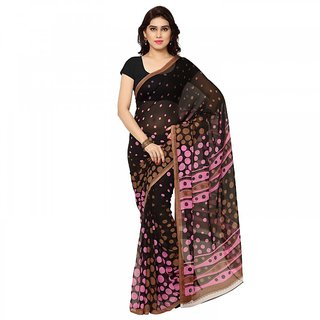 Thankar online trading Black & Pink Georgette Printed Saree With Blouse