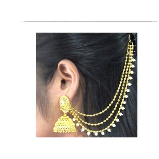 Golden Jhumka with Golden Pearl Ear Chain Earring