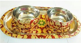 Satya meenakari work bowl set with tray