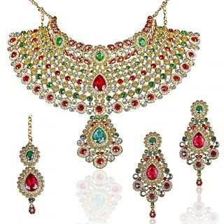 af2cce3ced1bd Mithya by JewelMaze Gold Plated Zinc Alloy Red And Green Kundan Necklace  Set with Maang Tikka-DAA0016
