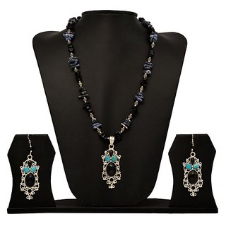 Jewels Tree Party Wear Wedding and casual Silver Earring  Necklace Set (Onyx,Turquoise) For Women/Girls