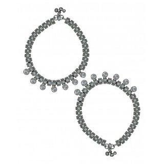 Zaveri Pearls Set of 2 glamorous Silver Tone Anklet Set - ZPFK5679