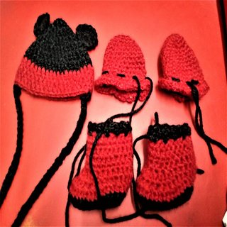 Crochet Woollen Mickey Mouse Red Cap, Booties, Mittens Set - Handmade