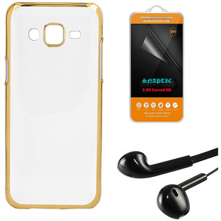 DKM Inc Soft Golden Chrome TPU Cover Noise Cancellation Earphones and Tempered Glass for Samsung Galaxy J7