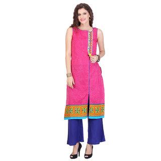 Varanga Pink Printed Cotton Stitched Kurti