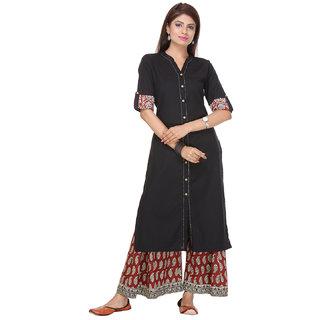 Varanga Black Embroidered Cotton Stitched Kurti