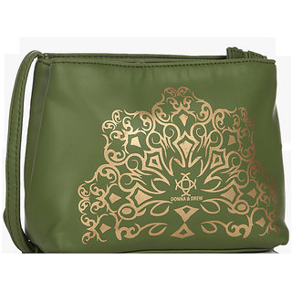 Donna  Drew Green Solid/Plain Casual Sling Bags