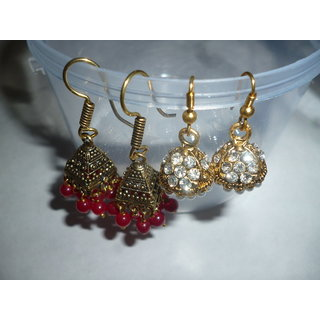 2 PAIR NEW DESIGNER PARTYWEAR HANGING EARRINGS WITH STONE AND MOTI.