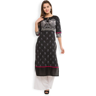Vishudh Black Printed Cotton Stitched Kurti