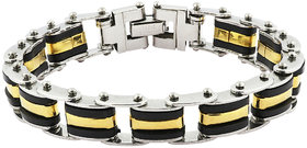 The Jewelbox Geometric Links Biker Black Gold Surgical Stainless Steel Bracelet For Men