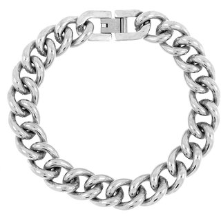 The Jewelbox Curb Rhodium Plated Glossy Stainless Steel Bracelet For Men