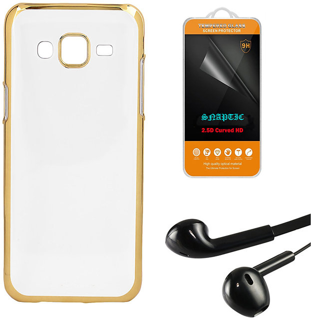 DKM Inc Soft Golden Chrome TPU Cover Noise Cancellation Earphones and  Tempered Glass for Coolpad Note 3 Lite