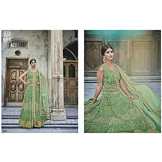 Salwar Soul Designer Green Net Embroidery Dress Materials