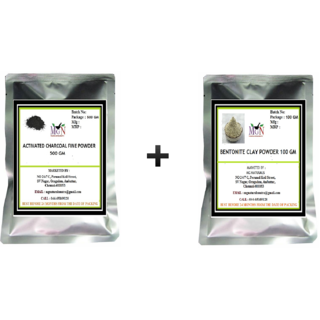 BUY 500 GM ACTIVATED CHARCOAL FINE POWDER  GET 100 GM BENTONITE FREE
