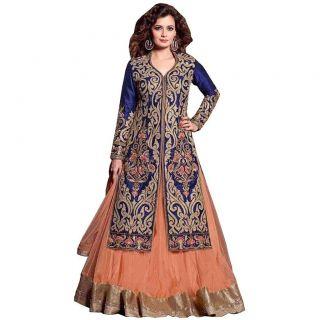 Salwar Soul DESINGER ORANGE AND BLUE COLOR NET LEHENGA CHOLI For Girls For Specail Uses In weddin