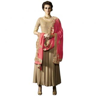 Salwar Soul BEIGE COLOR LATEST INDIAN DESIGNER ANARKALI SALWAR KAMEEZ DRESS for women & girls Free Size