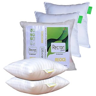 Recron Certified Rejoice White Fibre Cushion - Pack of 5 (16x16)