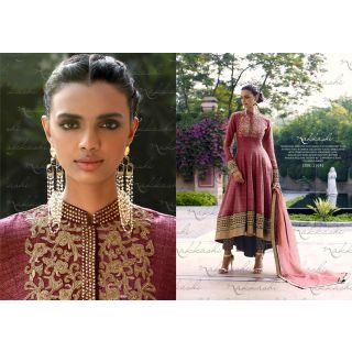 Salwar Soul Designer Pink Bhagalpuri silk Embroidery Anarkali Suits