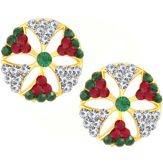 Shostopper Multicolour Glittery Gold Plated Australian Diamond Earring