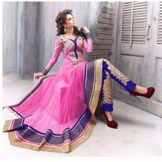 Salwar Soul Designer Pink Net Embroidery Dress Materials