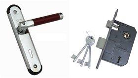 ATOM MZ1 Rose Mortice door handle set with Double Action Mortice Lock 3 Keys