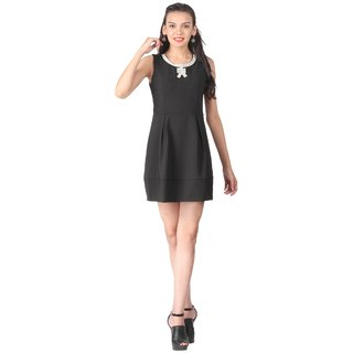 Remanika A Line Black Plain Women's Dress