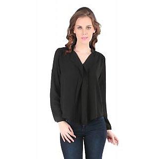 Remanika Black Plain Chinese Collar Crop Tops