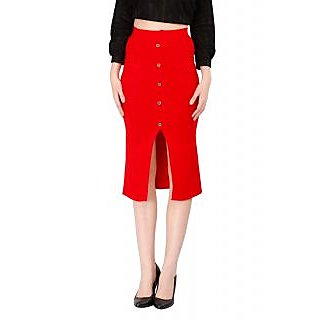 Remanika A-line Red Plain Women's Skirt